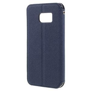 Diary puzdro s okienkom pre Samsung Galaxy S7 - tmavomodré - 2