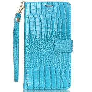 Croco styl peňaženkové puzdro pre Samsung Galaxy S7 - modré - 2