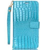 Croco styl peňaženkové puzdro pre Samsung Galaxy S7 - modré - 2/6