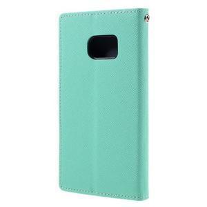 Goosper PU kožené pouzdro na Samsung Galaxy S7 - cyan - 2