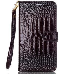 Croco styl peňaženkové puzdro pre Samsung Galaxy S7 - hnedé - 2