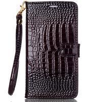 Croco styl peňaženkové puzdro pre Samsung Galaxy S7 - hnedé - 2/6