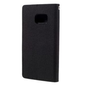 Canvas PU kožené/textilní puzdro pre Samsung Galaxy S7 - čierne - 2