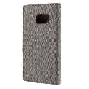 Canvas PU kožené/textilní puzdro pre Samsung Galaxy S7 - šedé - 2