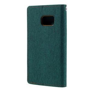 Canvas PU kožené/textilní pouzdro na Samsung Galaxy S7 - zelené - 2