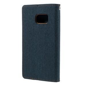 Canvas PU kožené/textilní puzdro pre Samsung Galaxy S7 - modré - 2
