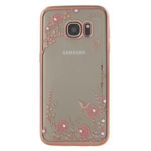 Nice gélový obal s kamínky pre Samsung Galaxy S7 - ružové kvetiny - 2