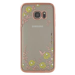 Nice gélový obal s kamínky pre Samsung Galaxy S7 - žlté kvetiny - 2