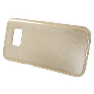 Brush gélový obal pre mobil Samsung Galaxy S7 - zlatý - 2