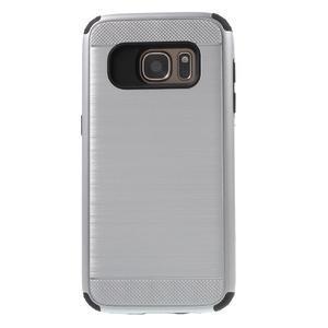 Dvoudílný odolný kryt na Samsung Galaxy S7 - stříbrný - 2