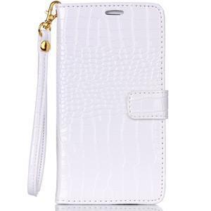 Croco styl peněženkové pouzdro na Samsung Galaxy S7 - bílé - 2