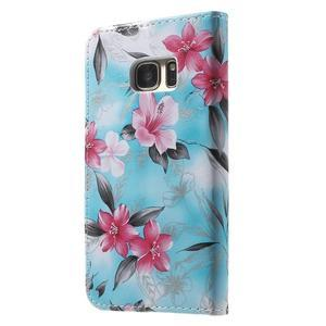 Flower puzdro pre mobil Samsung Galaxy S7 - modré pozadí - 2