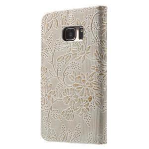 Kvetinové peňaženkové puzdro pre Samsung Galaxy S7 - béžovobiele - 2
