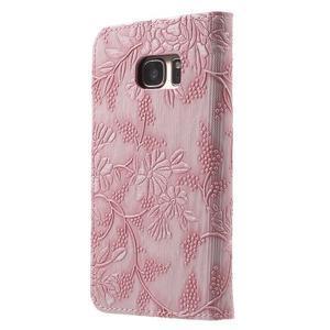 Kvetinové peňaženkové puzdro pre Samsung Galaxy S7 - ružové - 2