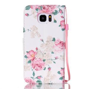 Kvetinové peňaženkové puzdro pre Samsung Galaxy S7 Edge - 2
