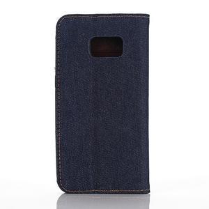 Jeans puzdro pre mobil Samsung Galaxy S7 edge - tmavomodré - 2