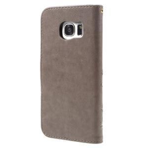 Butterfly PU kožené pouzdro na Samsung Galaxy S7 edge - šedé - 2