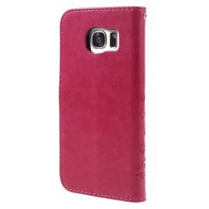 Butterfly PU kožené puzdro pre Samsung Galaxy S7 edge - rose - 2