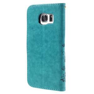 Butterfly PU kožené puzdro pre Samsung Galaxy S7 edge - modré - 2