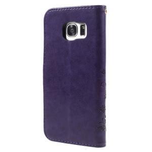 Butterfly PU kožené pouzdro na Samsung Galaxy S7 edge - fialové - 2