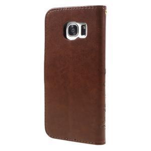 Butterfly PU kožené puzdro pre Samsung Galaxy S7 edge - hnedé - 2