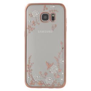 Nice gelový obal s kamínky na Samsung Galaxy S7 edge - bílé květiny - 2