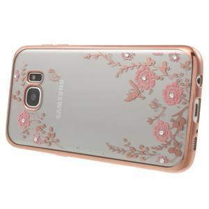 Nice gélový obal s kamienkami pre Samsung Galaxy S7 edge - ružové kvety - 2