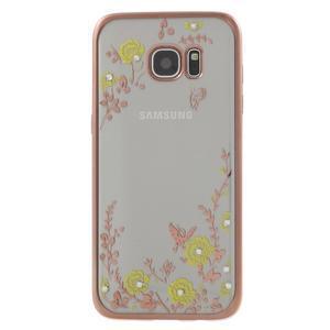 Nice gélový obal s kamienkami pre Samsung Galaxy S7 edge - žlté kvety - 2