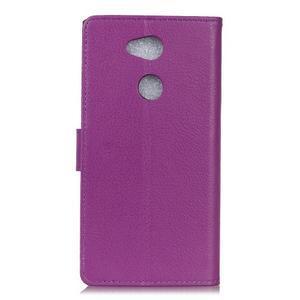 Litchi PU kožené púzdro na Sony Xperia L2 - fialové - 2