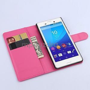 Růžové PU kožené pouzdro na Sony Xperia M4 Aqua - 2