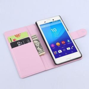 Svetle ružové PU kožené puzdro pre Sony Xperia M4 Aqua - 2