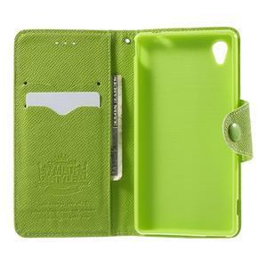 Zelené PU kožené Peňaženkové puzdro pre Sony Xperia M4 Aqua - 2
