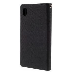 Canvas PU kožené/textilné puzdro pre Sony Xperia Z5 - čierne - 2