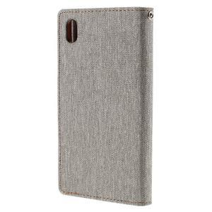Canvas PU kožené/textilné puzdro pre Sony Xperia Z5 - sivé - 2