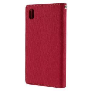 Canvas PU kožené/textilné puzdro pre Sony Xperia Z5 - červené - 2