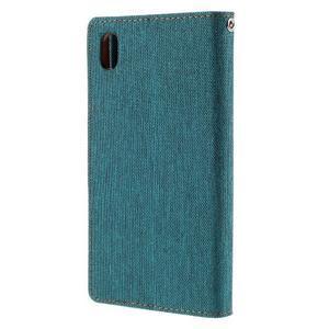 Canvas PU kožené/textilné puzdro pre Sony Xperia Z5 - zelené - 2