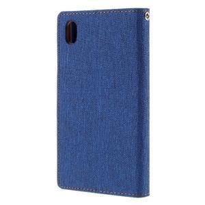 Canvas PU kožené/textilné puzdro pre Sony Xperia Z5 - modré - 2