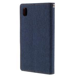 Canvas PU kožené/textilné puzdro pre Sony Xperia Z5 - tmavomodré - 2