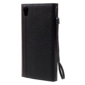 Štýlové Peňaženkové puzdro Sony Xperia Z5 - hnedé/čierne - 2