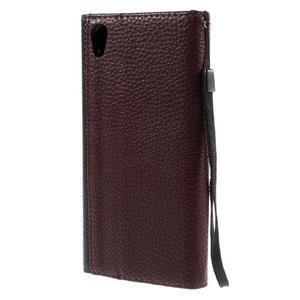 Štýlové Peňaženkové puzdro Sony Xperia Z5 - čierne/hnedé - 2