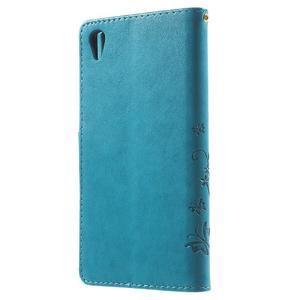 Butterfly PU kožené pouzdro na Sony Xperia Z5 - modré - 2