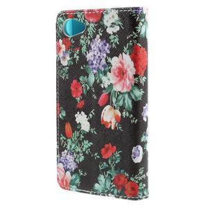 Wally Peňaženkové puzdro pre Sony Xperia Z5 Compact - kvetiny - 2