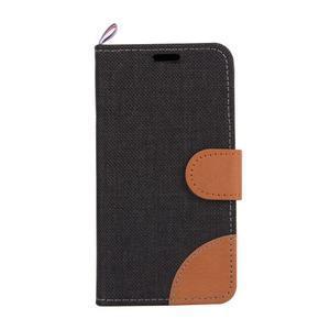 Cloth Peňaženkové puzdro pre mobil Sony Xperia Z5 Compact - čierne - 2