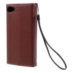 Štýlové Peňaženkové puzdro pre Sony Xperia Z5 Compact - hnedé/čierne - 2