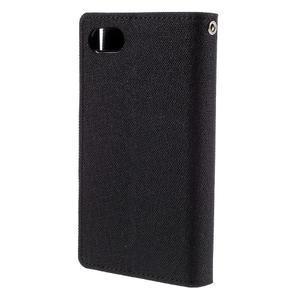 Canvas PU kožené/textilné puzdro pre Sony Xperia Z5 Compact - čierne - 2