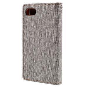 Canvas PU kožené/textilní pouzdro na Sony Xperia Z5 Compact - šedé - 2