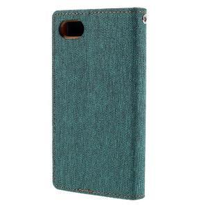 Canvas PU kožené/textilné puzdro pre Sony Xperia Z5 Compact - zelené - 2