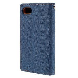 Canvas PU kožené/textilné puzdro pre Sony Xperia Z5 Compact - modré - 2