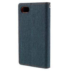 Canvas PU kožené/textilné puzdro pre Sony Xperia Z5 Compact - tmavomodré - 2
