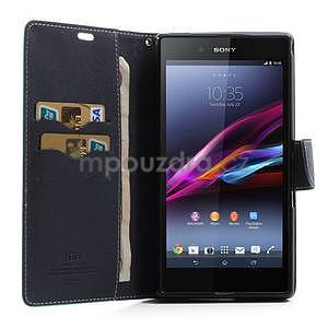 Peněženkové PU kožené pouzdro na Sony Z Ultra - azurové - 2